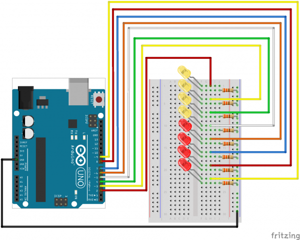Schéma zapojení 8xLED Arduino, Binární čítač 8 bit